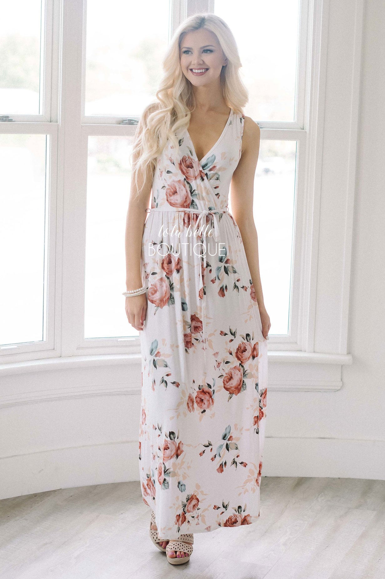 Ivory & Soft Mauve Floral Tie Waist Maxi Dress
