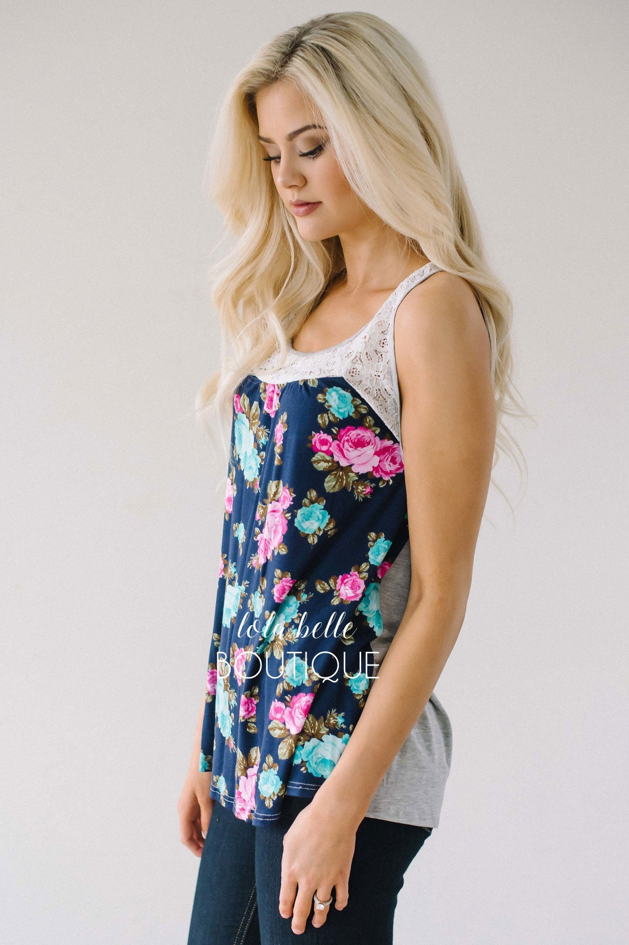 Floral & Lace Summer Tank Top