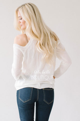 Ivory Cold Shoulder Lace Front Sweater