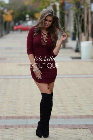 Laced Up Burgundy Dress