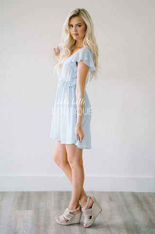Love Me Forever Light Blue Ruffle Sleeve Dress