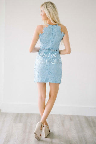 See Me Now Pastel Blue Lace Dress