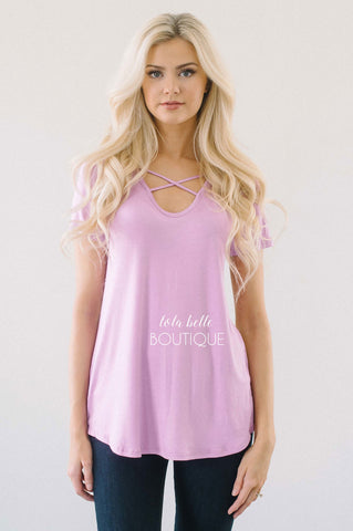 Lilac & Floral Back Criss Cross Top