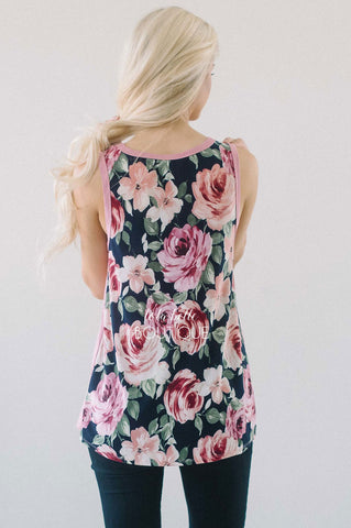 Pretty Mauve & Floral Tank Top