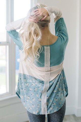 Dusty Mint & Floral Lace Detail Long Sleeve Top