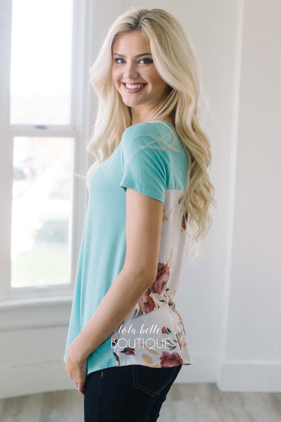 Mint & Floral Back Criss Cross Top