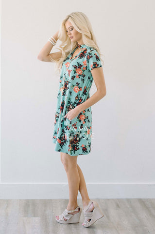 Mint & Tangerine High Neck Floral Dress