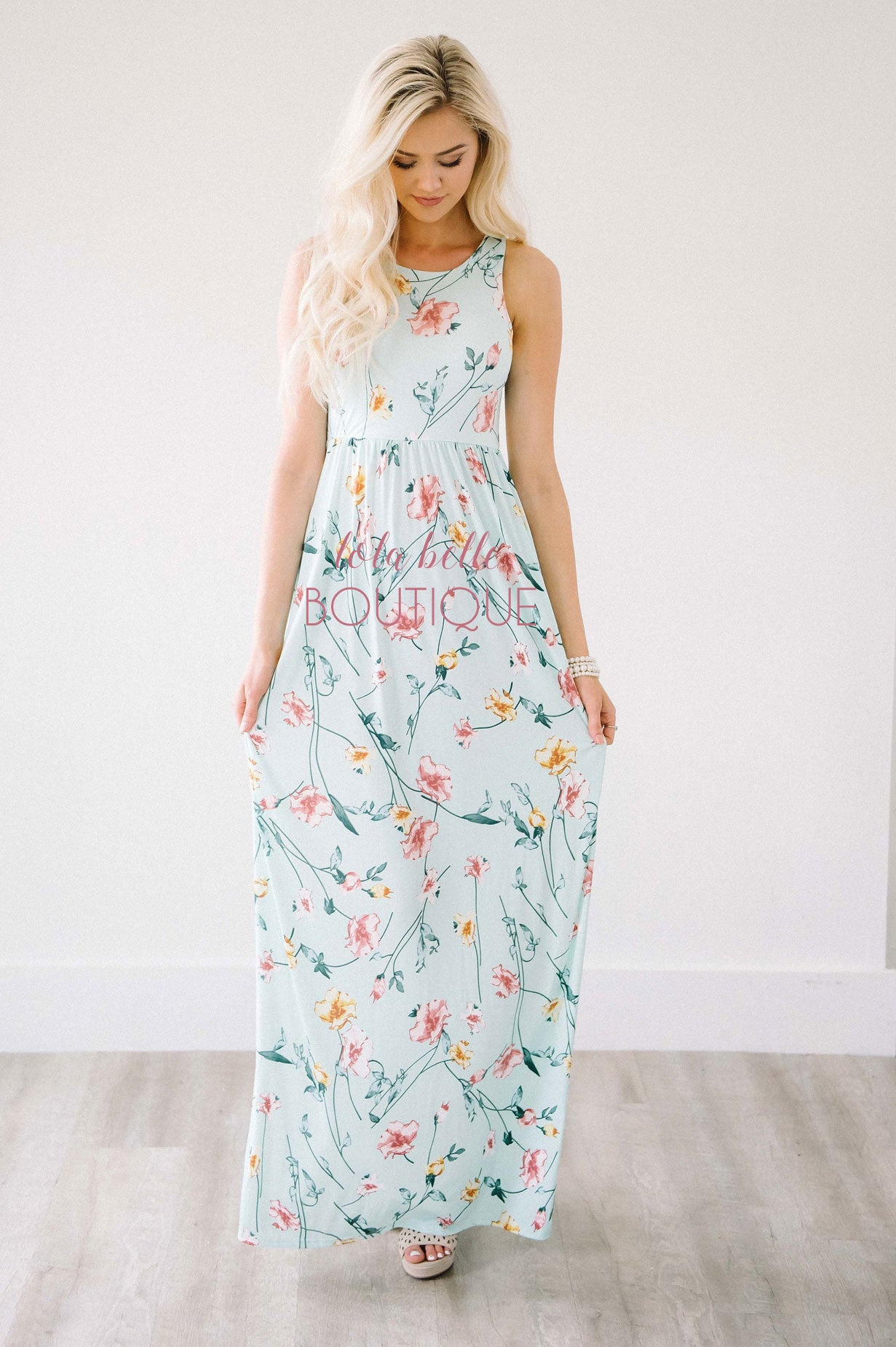 Falling Flowers Pastel Mint Maxi Dress U2013 Shop Lola Belle Boutique