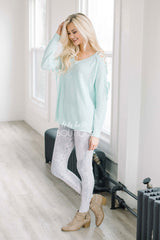 Light Mint Lace Shoulder Sweater