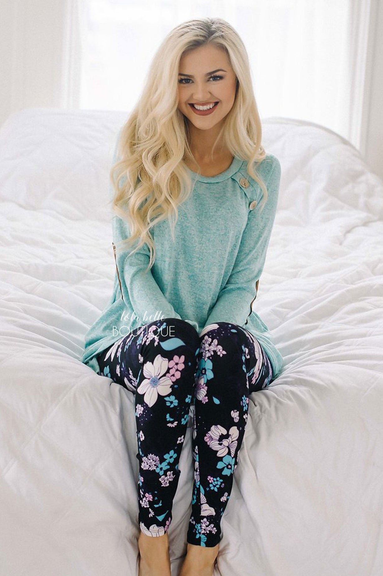 Black & Bright Mint Floral Leggings