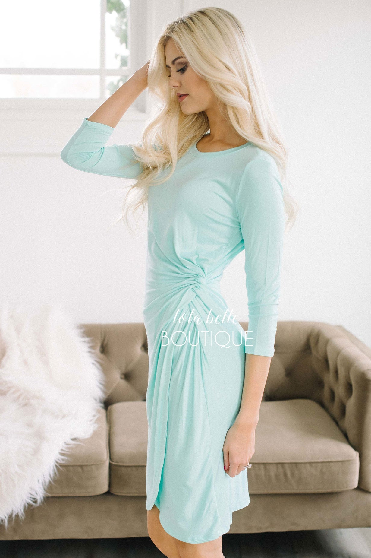 Mint Sorbet Side Twist Dress