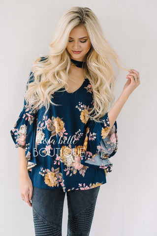 Navy Floral Bell Sleeve Blouse