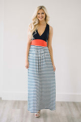 Navy & White Stripes Maxi Dress