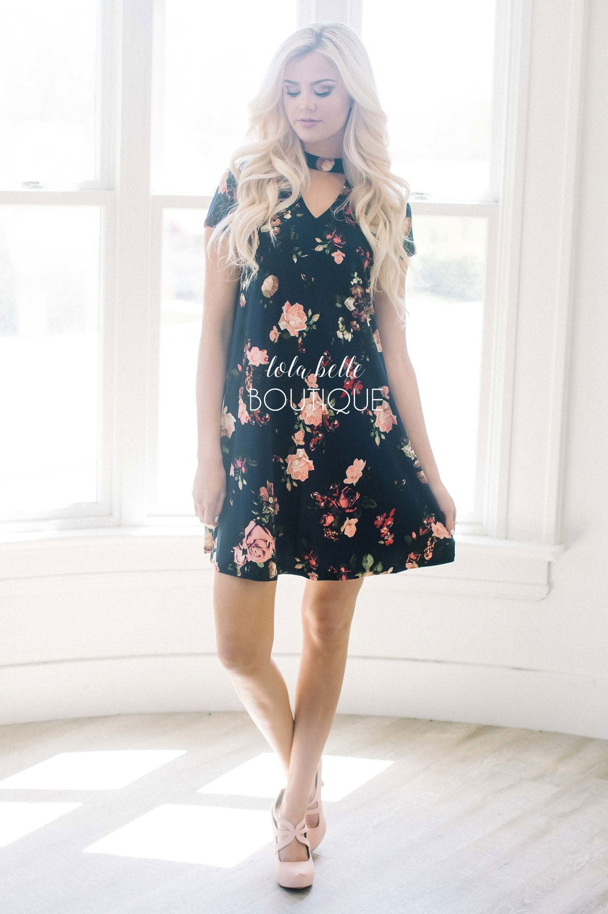 Navy & Coral High Neck Floral Dress