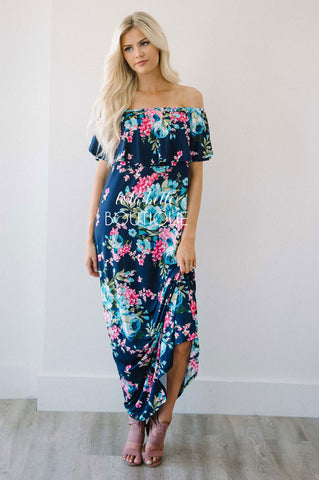 The Good Life Floral Off The Shoulder Maxi Dress