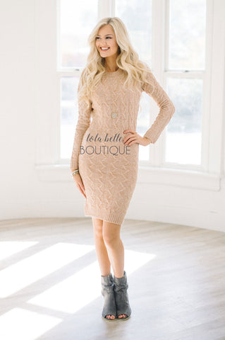 Home for The Holidays Oatmeal Peach Sweater Dress