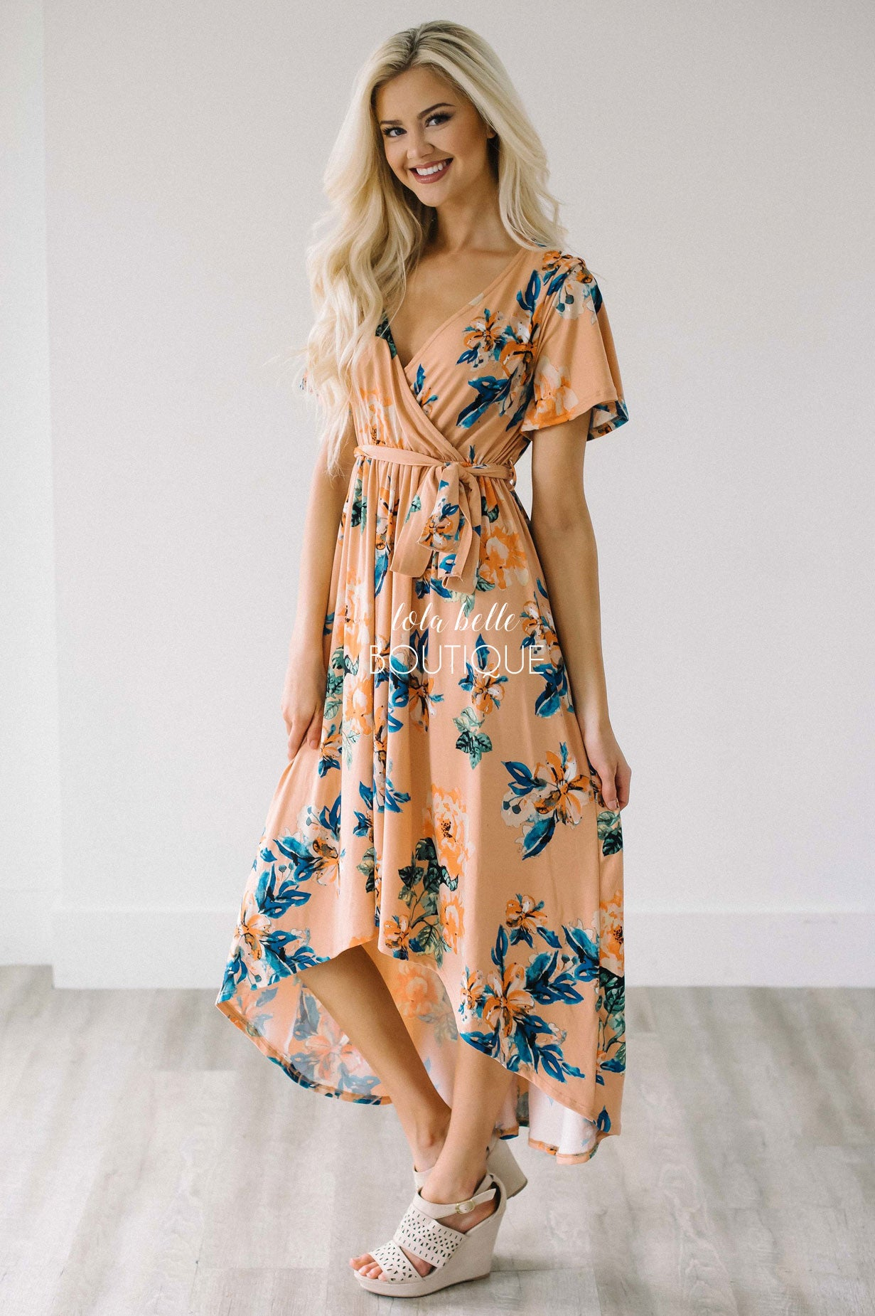 adb12e4764a8 Peach Tropical Floral Wrap Dress – Shop Lola Belle Boutique