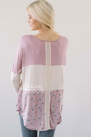 Dusty Pink & Floral Lace Detail Long Sleeve Top