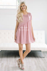 Shimmery Rose Ruffle Dress