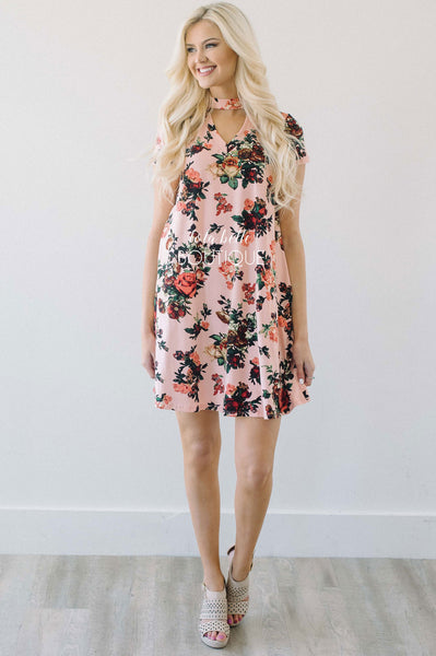 Pink & Coral High Neck Floral Dress