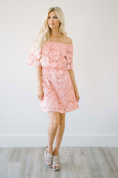 She's Blushing Pink Lace Dress