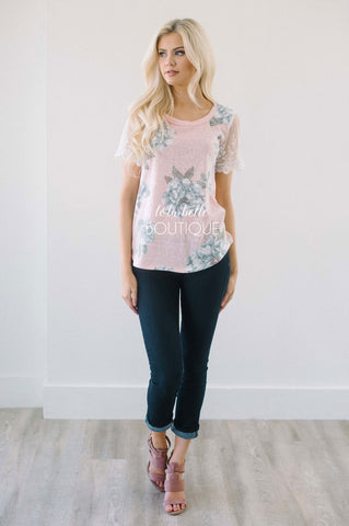 Pink Floral Lace Sleeve Top