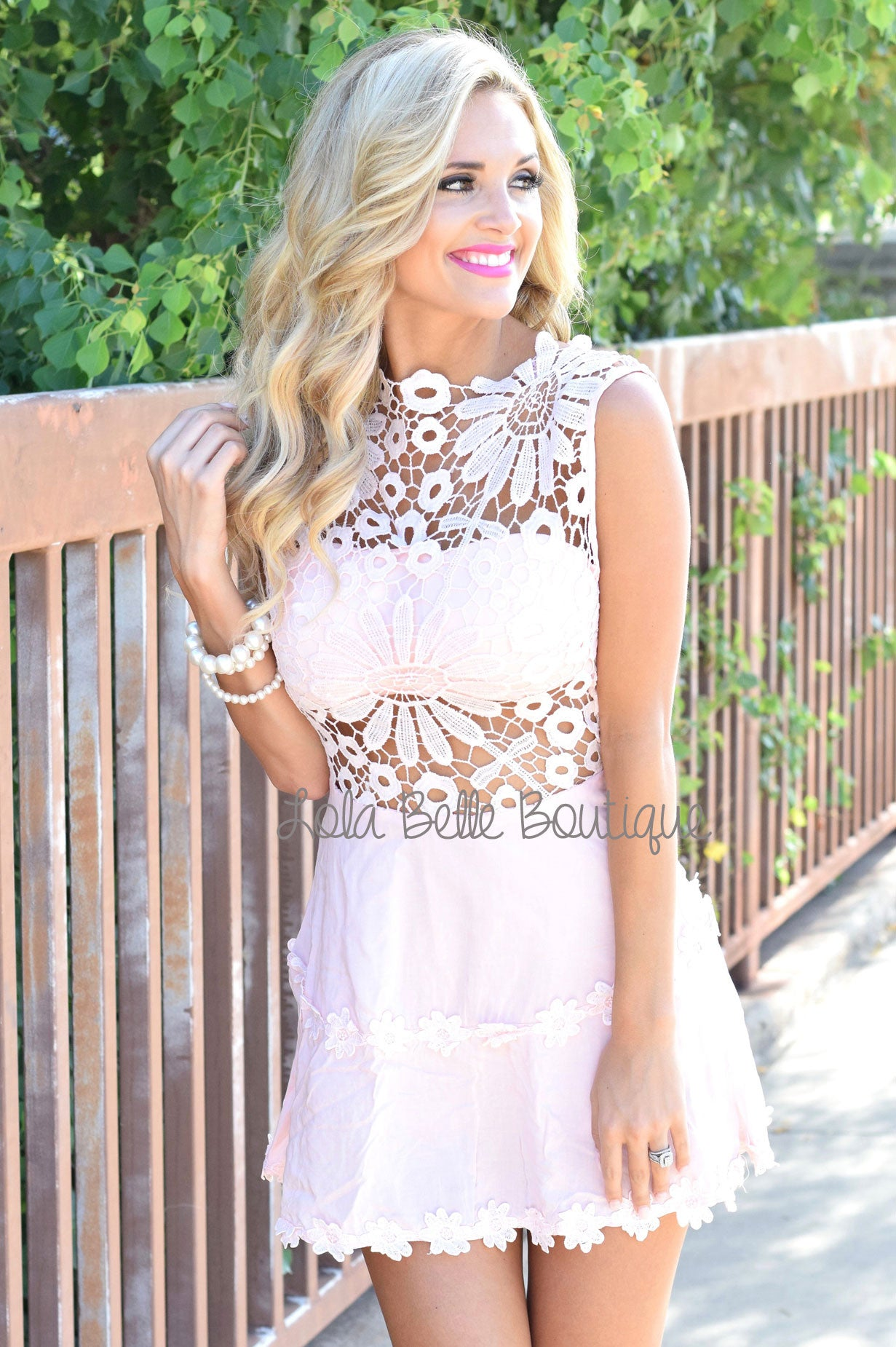 Sprinkled in Flowers Pink Lace Dress
