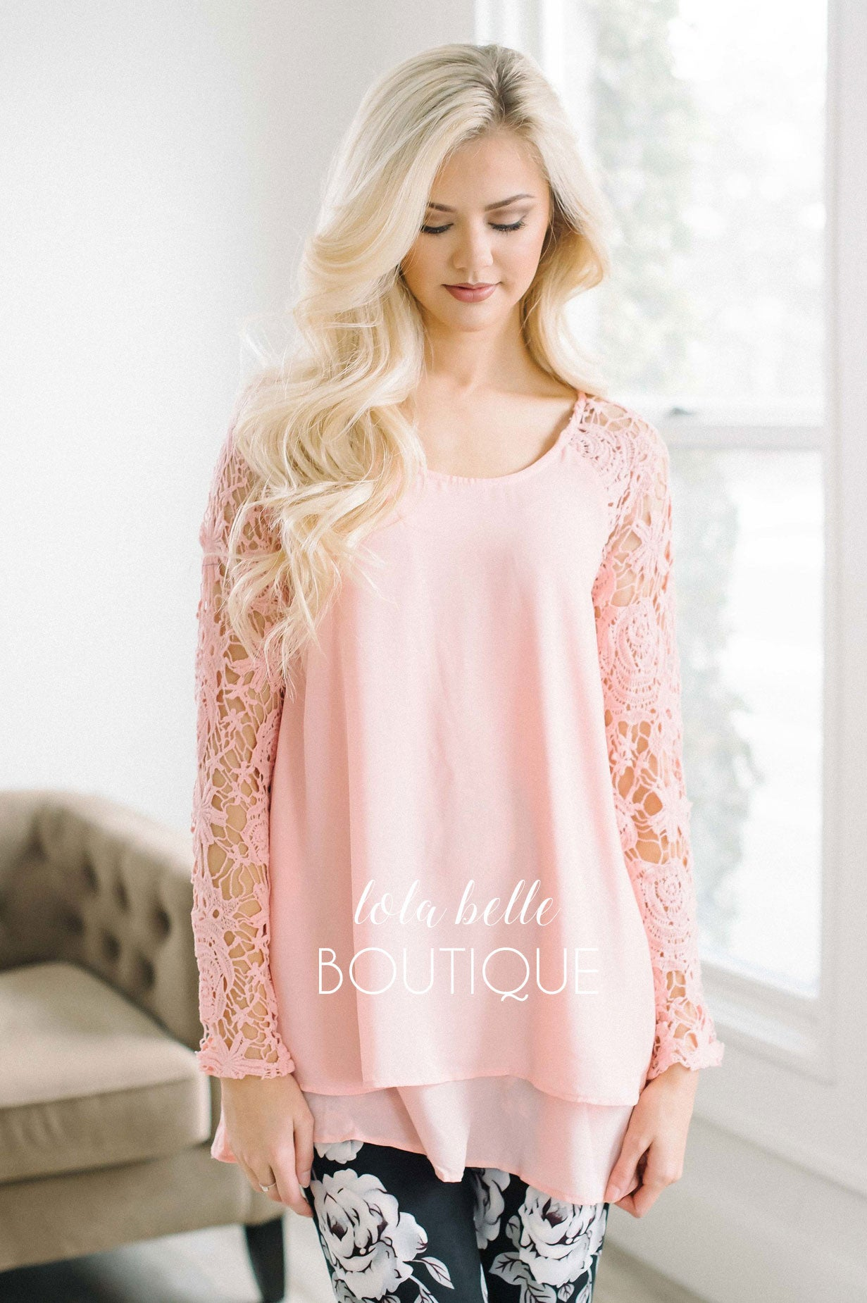 Pink Crochet Sleeves & Ruffle Top
