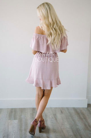 Dusty Blush Ruffle Off The Shoulder Dress