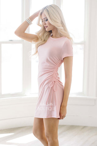 Baby Pink Side Ruch Dress