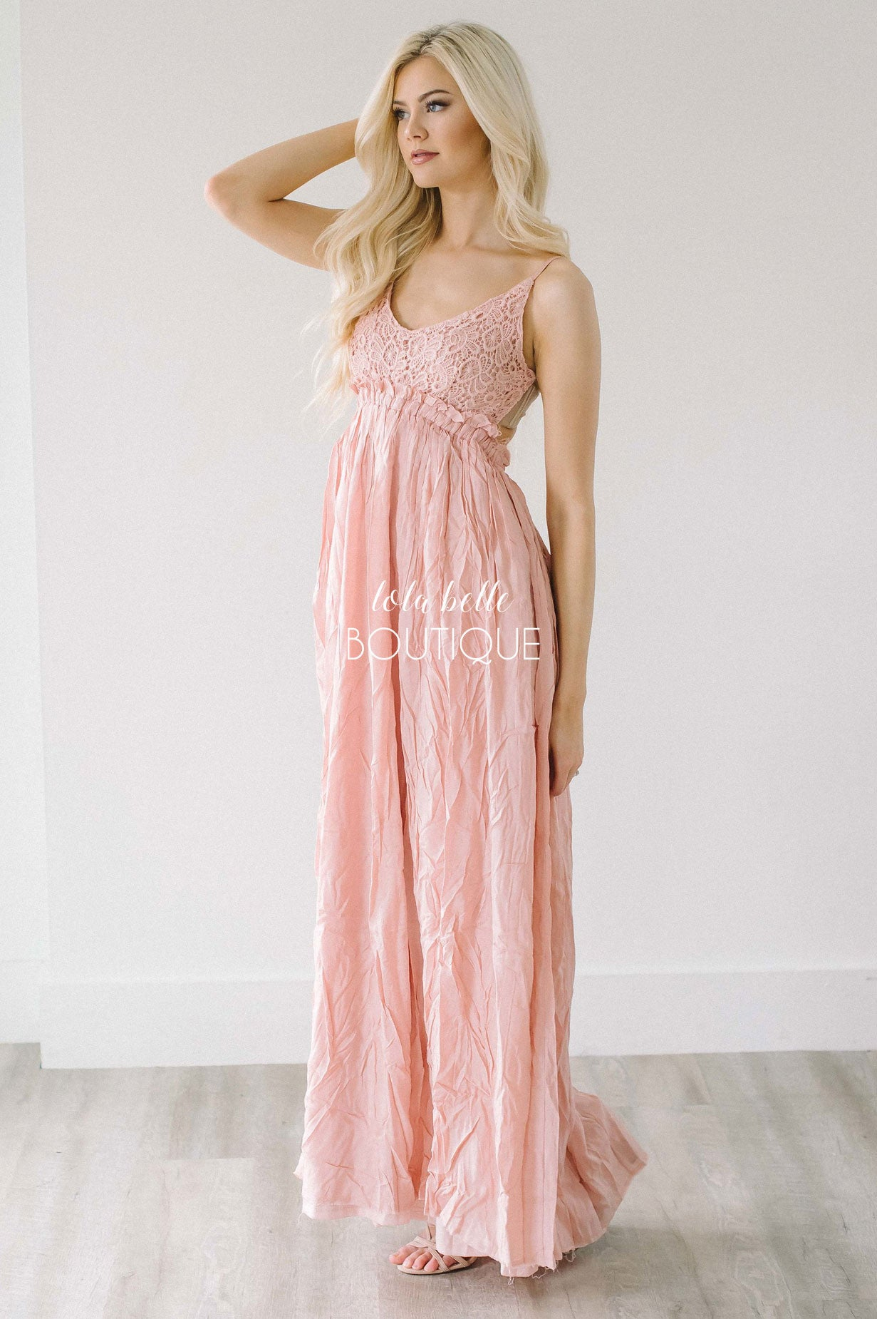 Spring Princess Full Length Dress in Dusty Pink