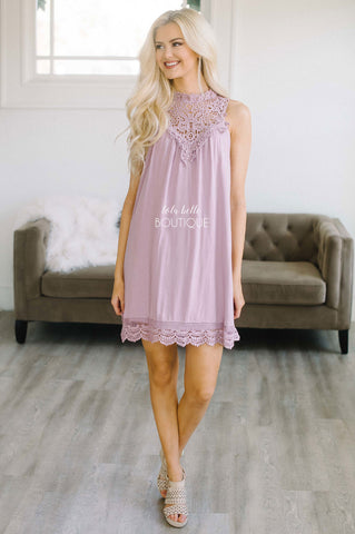 Whisper Lilac Crochet Detail Dress