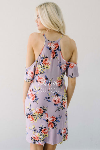 Take Me Away Dusty Lilac Floral Dress
