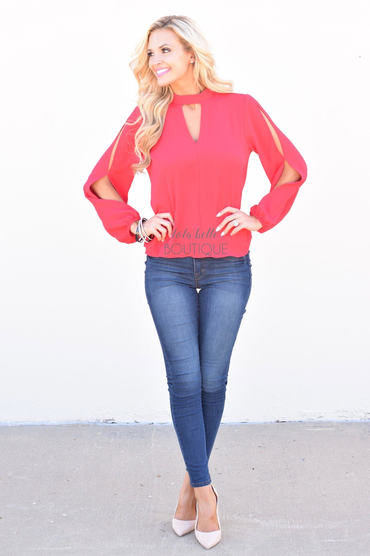 Holiday Red Open Sleeve Blouse