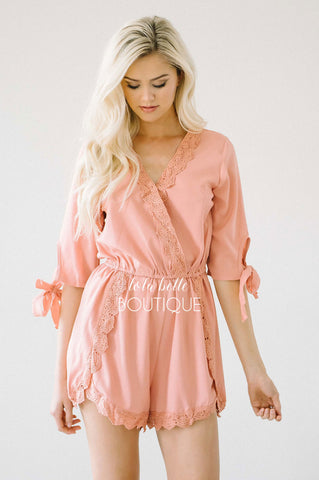 The Gemma Lace Trim Romper in Dusty Rose