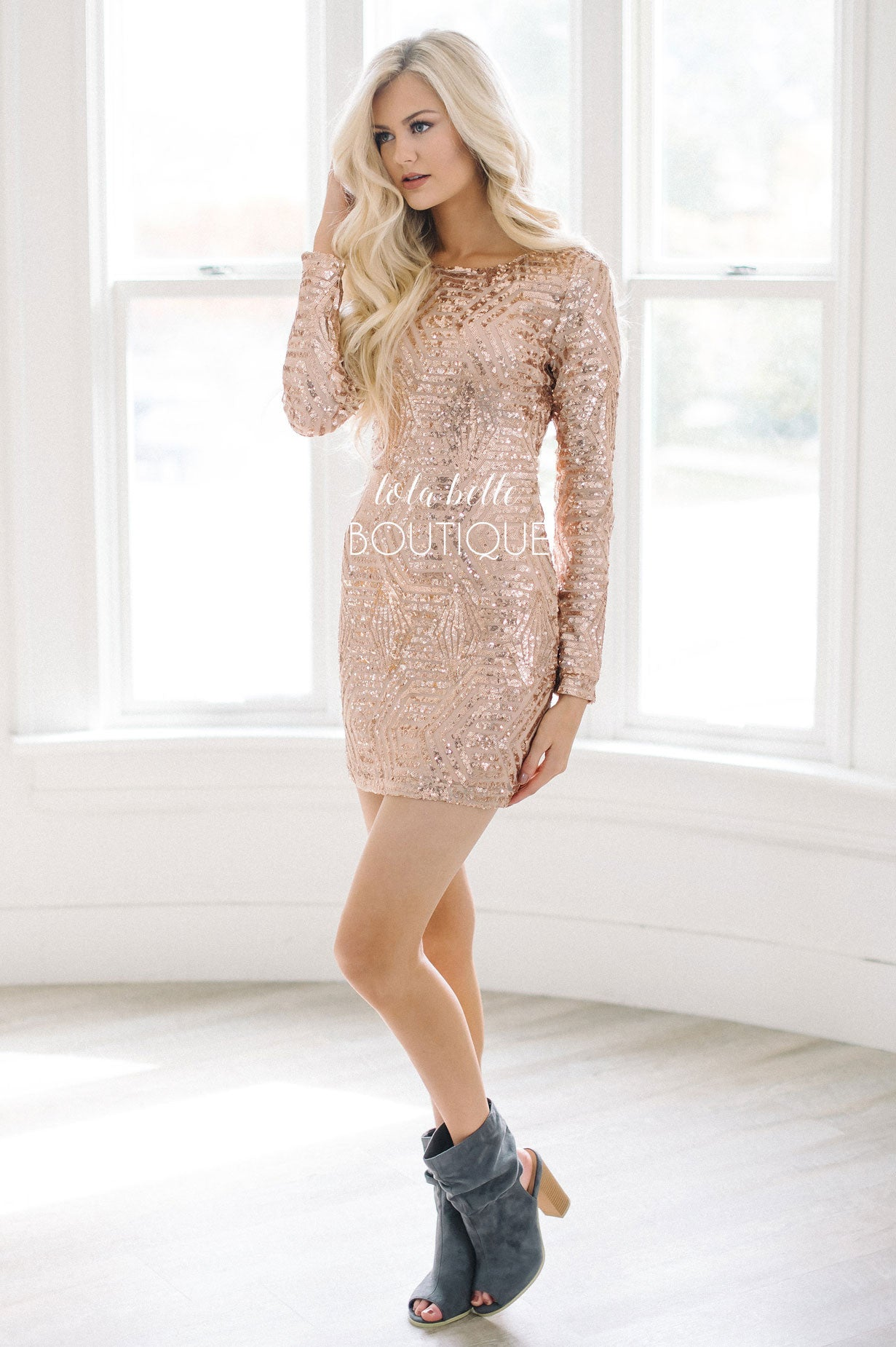 70ab3b68 Ring In The New Year Rose Gold Sequin Dress – Shop Lola Belle Boutique