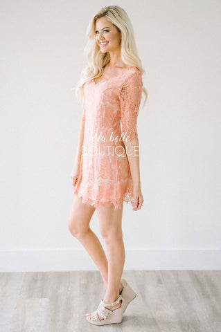 Dusty Rose Delicate Lace Dress