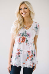 Criss Cross & Ruffle Floral Top