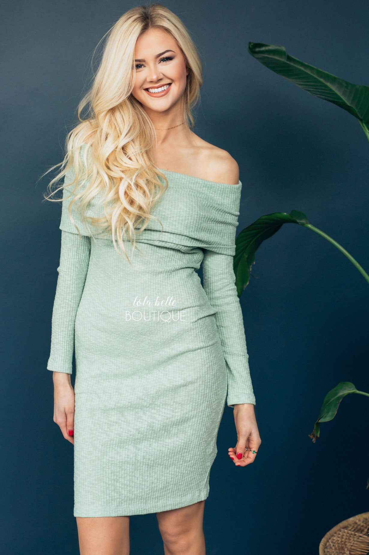 Beautiful in Sage Off The Shoulder Dress