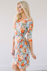 Sky Blue & Tangerine Floral Side Twist Dress