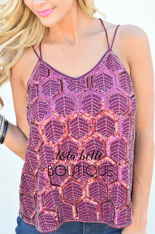 Shine On Burgundy Sequin Top