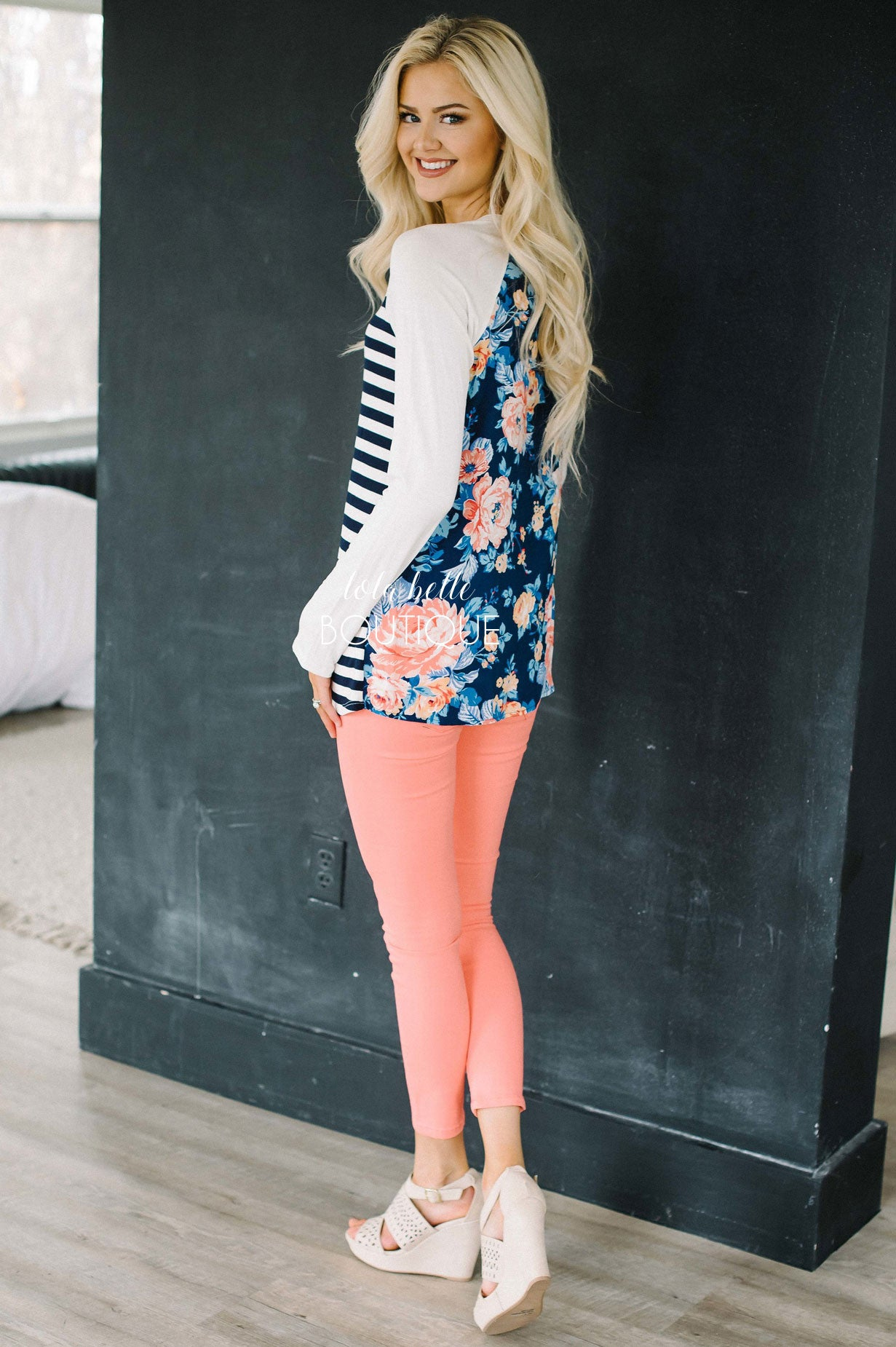 Stripes in The Front Floral on the Back Top