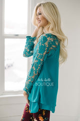 Teal Crochet Sleeves & Ruffle Top