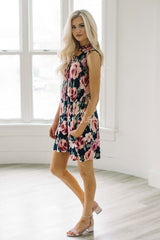 Just In Time Floral Tie Front Dress