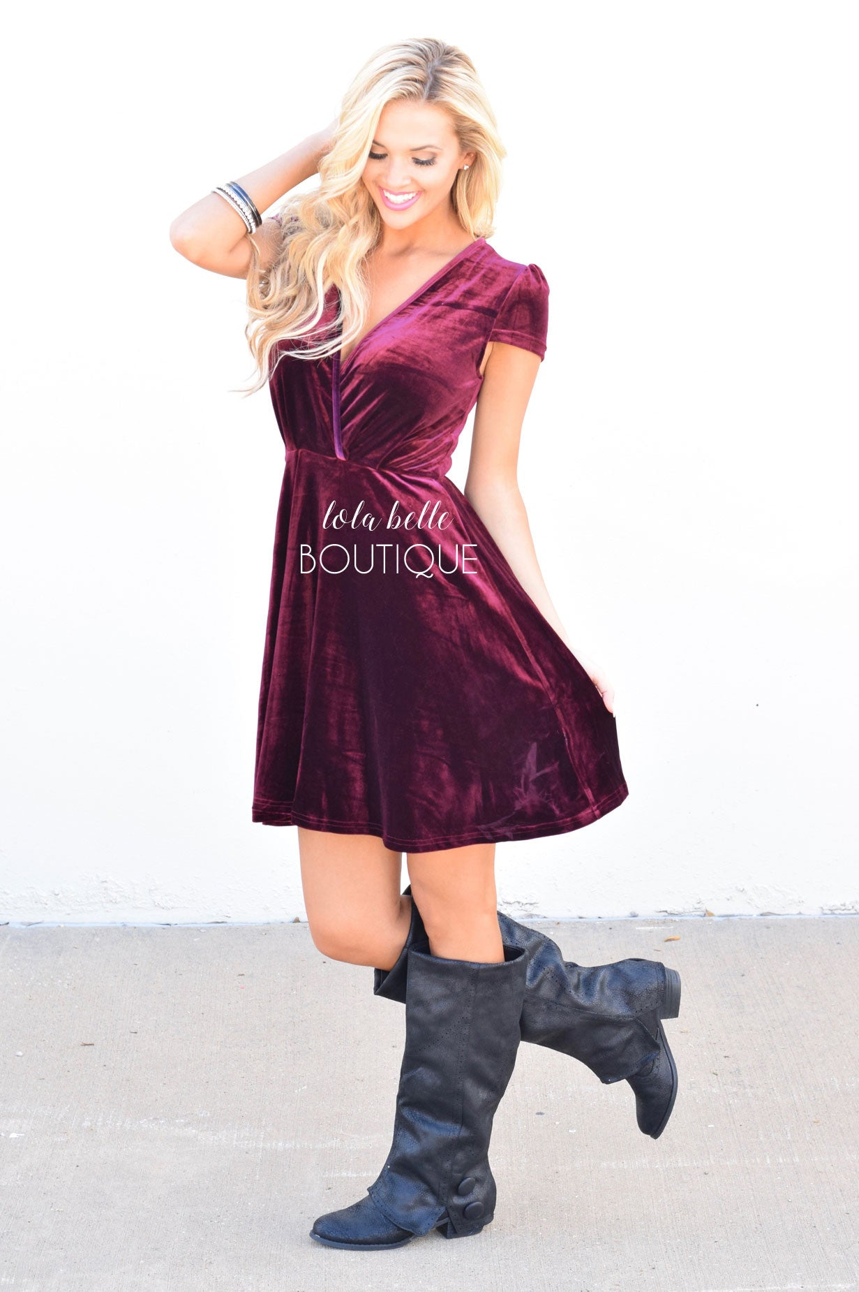 Deep Wine Velvet Dress