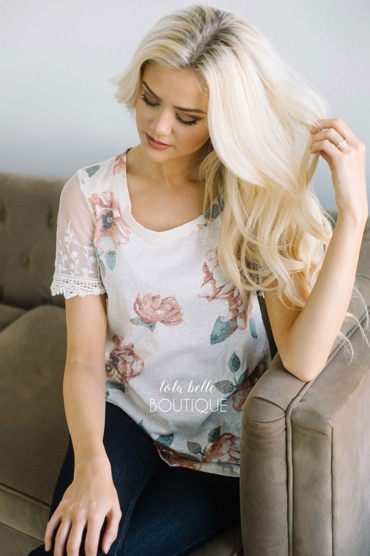 White Faded Floral Lace Sleeve Top