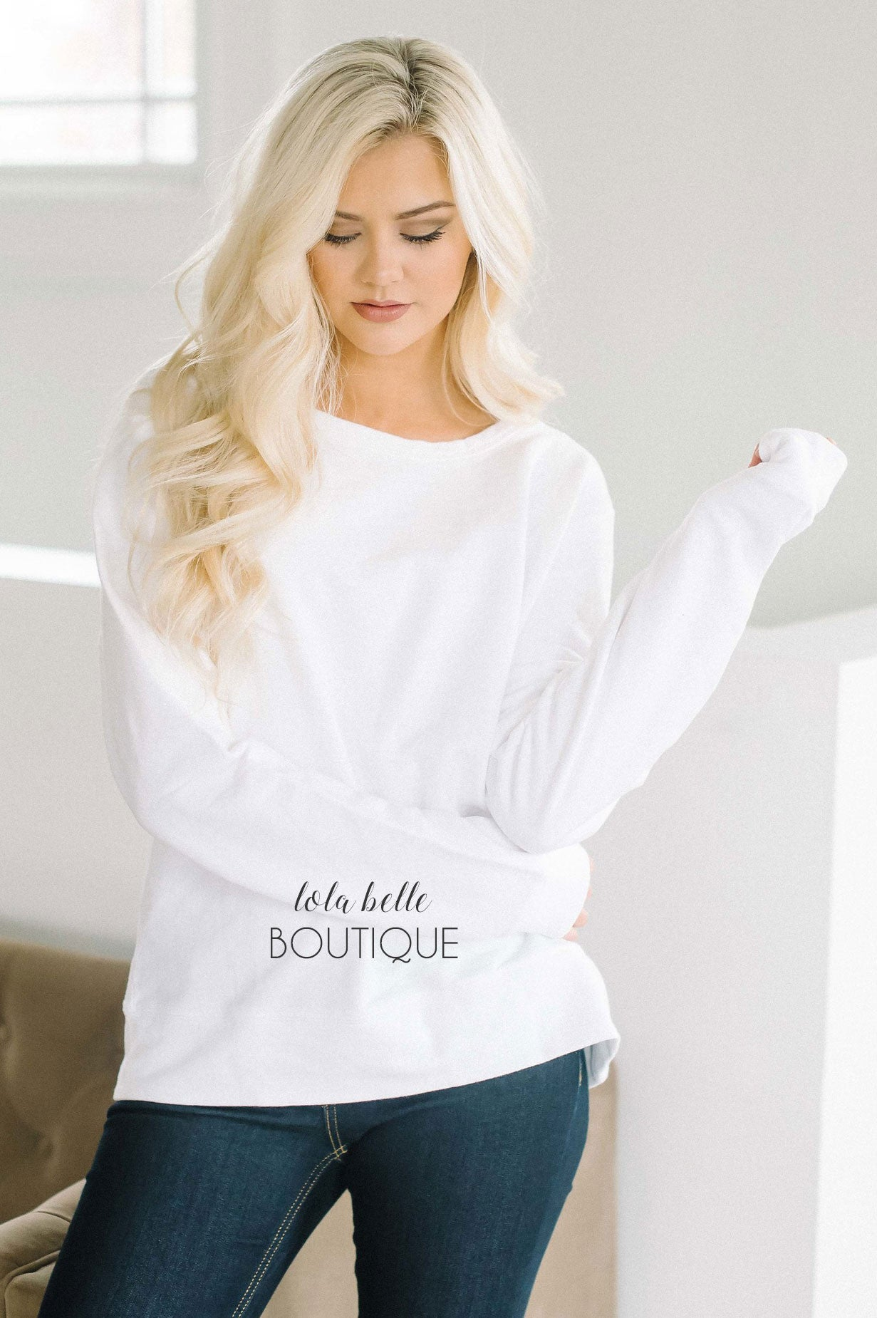 Lace Up Back Sweater in White