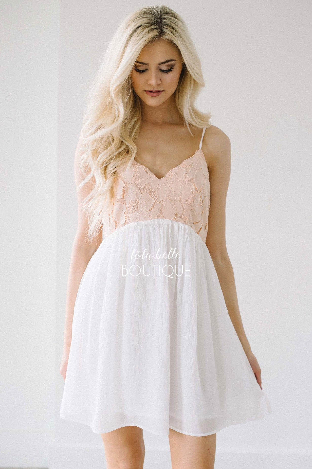 Dainty White & Peach Lace Dress