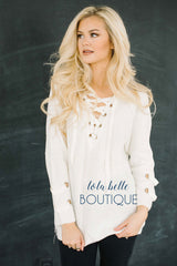 All Laced Up Ivory Sweater