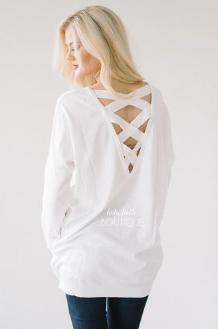 Soft Criss Cross Back Tunic in White